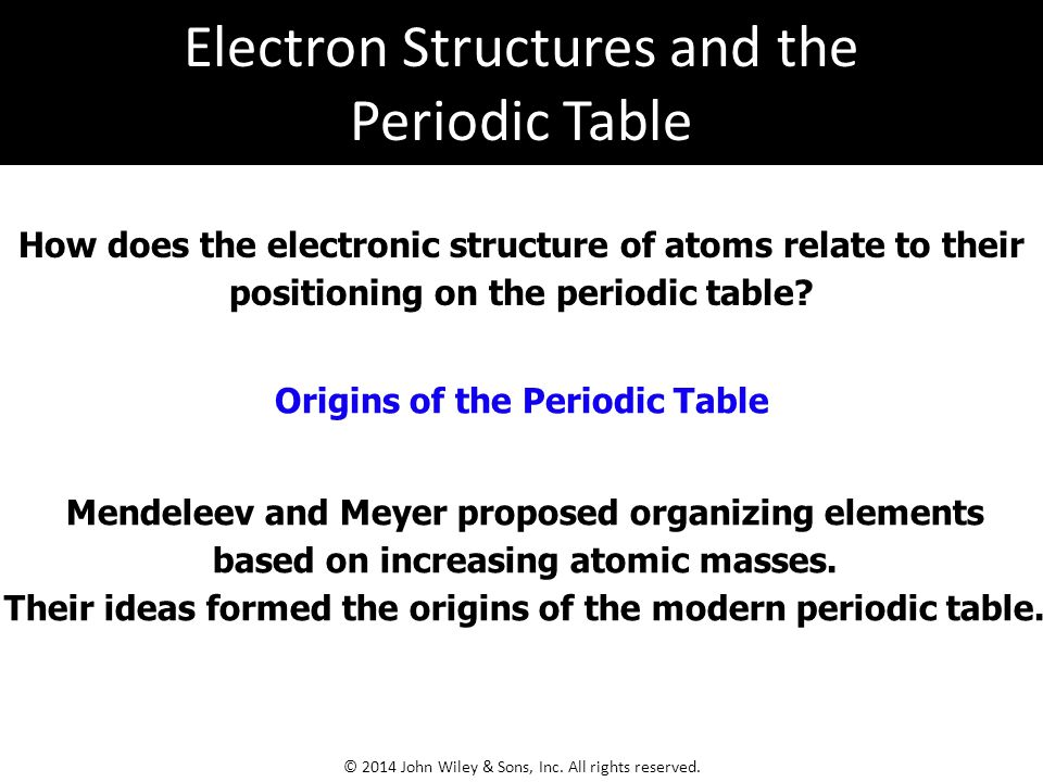 Electron Structures and the Periodic Table