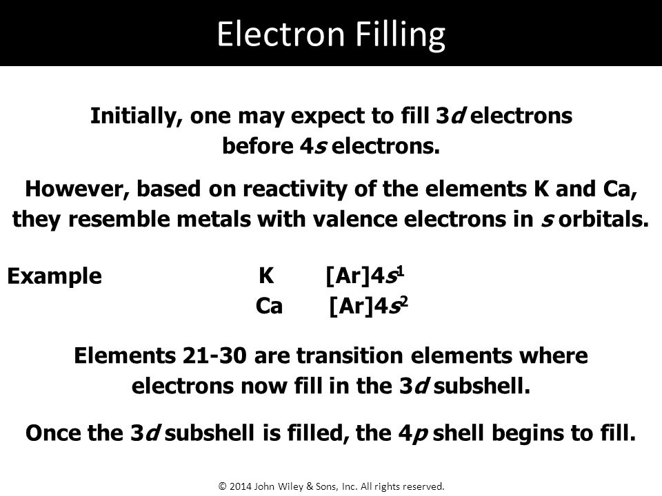Electron Filling Initially, one may expect to fill 3d electrons