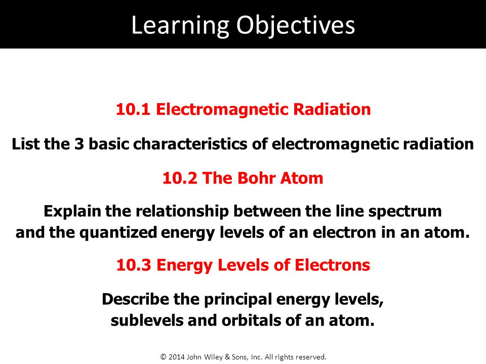 Learning Objectives 10.1 Electromagnetic Radiation 10.2 The Bohr Atom