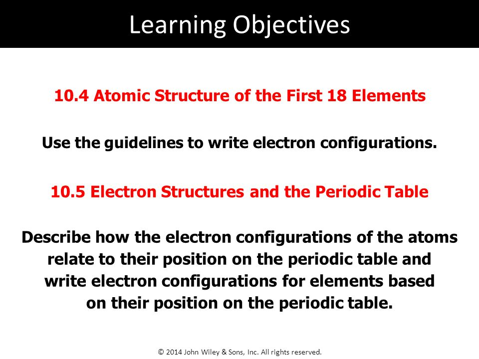 Learning Objectives 10.4 Atomic Structure of the First 18 Elements