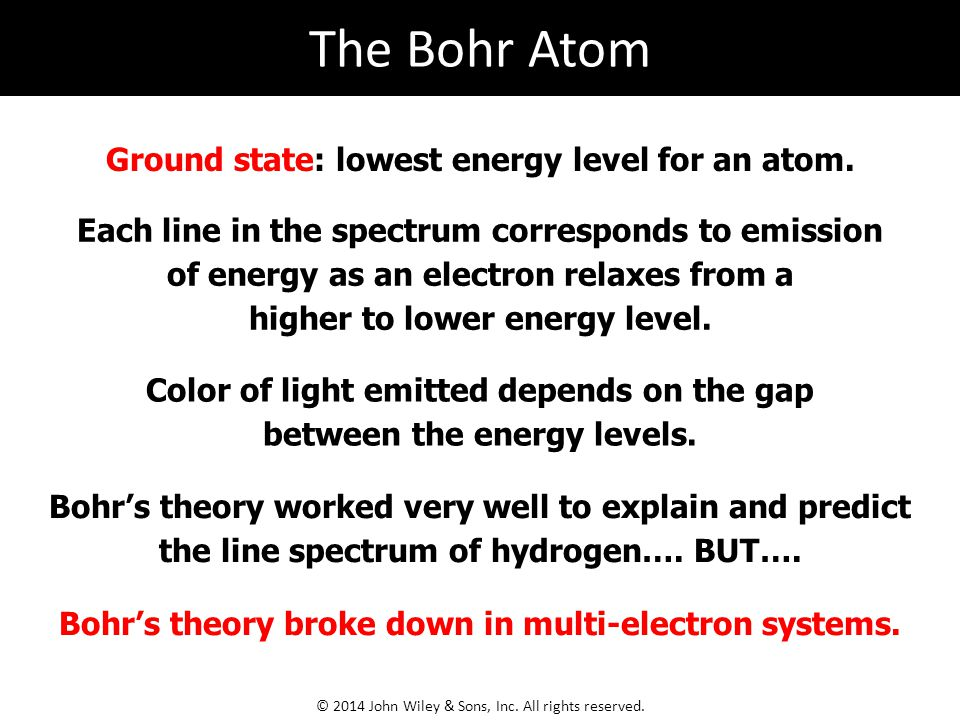 The Bohr Atom Ground state: lowest energy level for an atom.