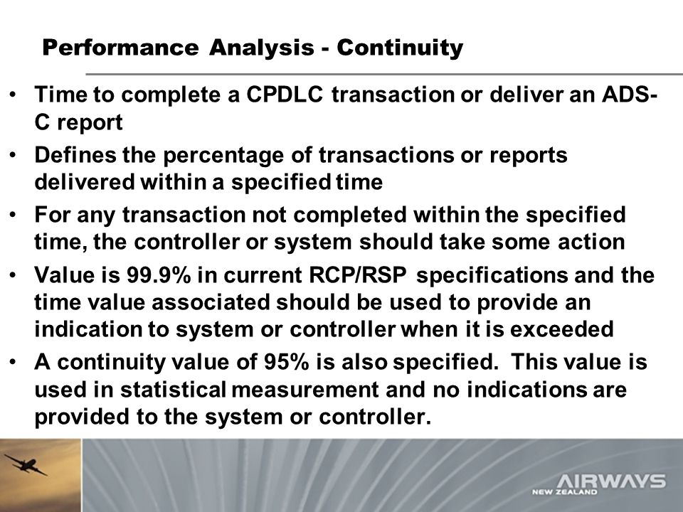 Performance Analysis - Continuity