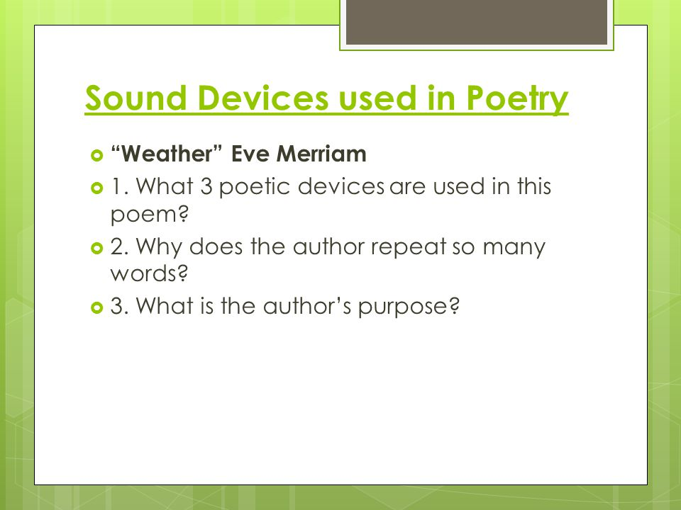 Sound Devices used in Poetry