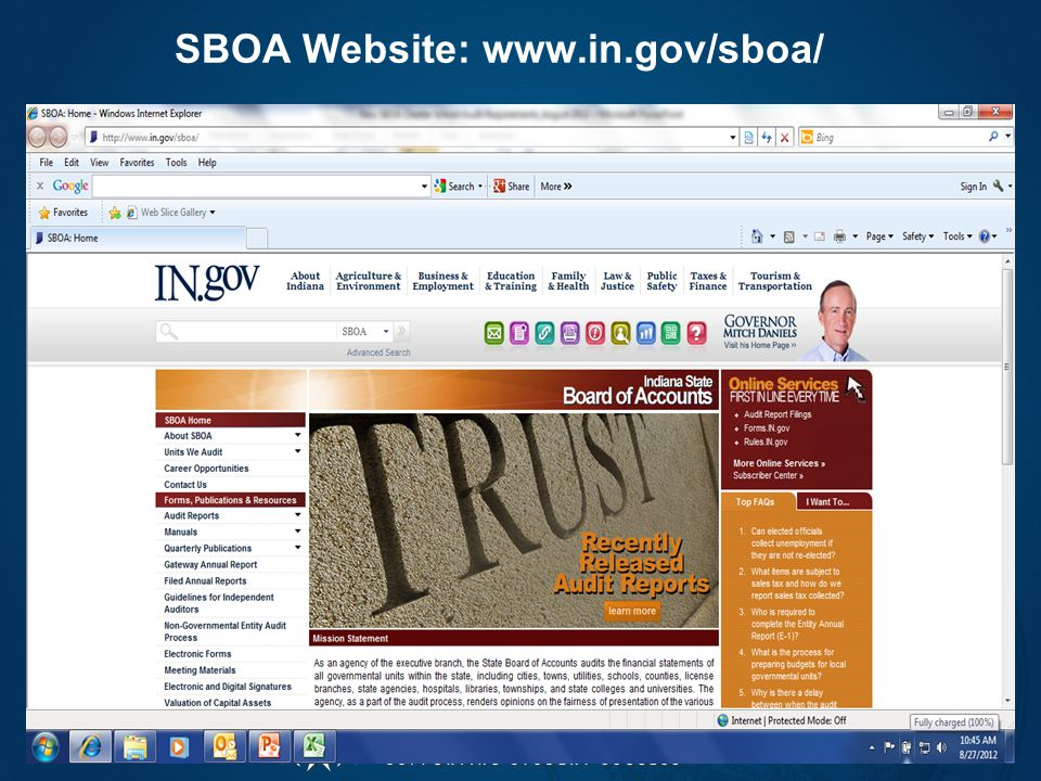 SBOA Website: www.in.gov/sboa/