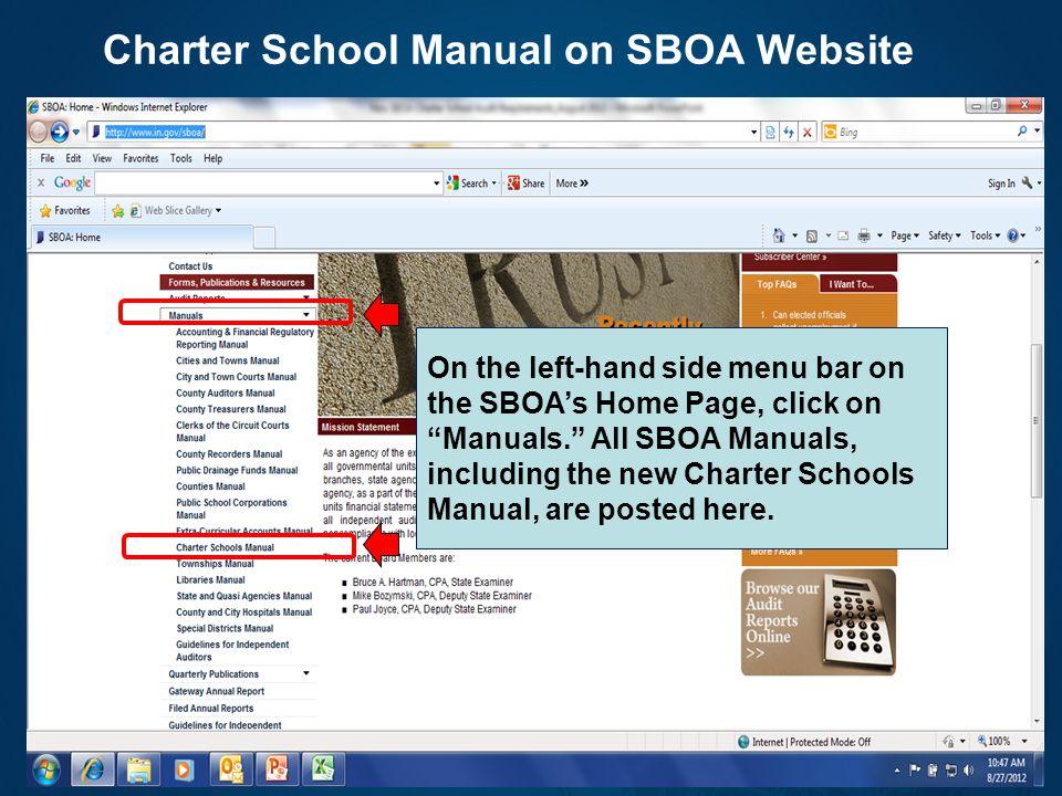 Charter School Manual on SBOA Website