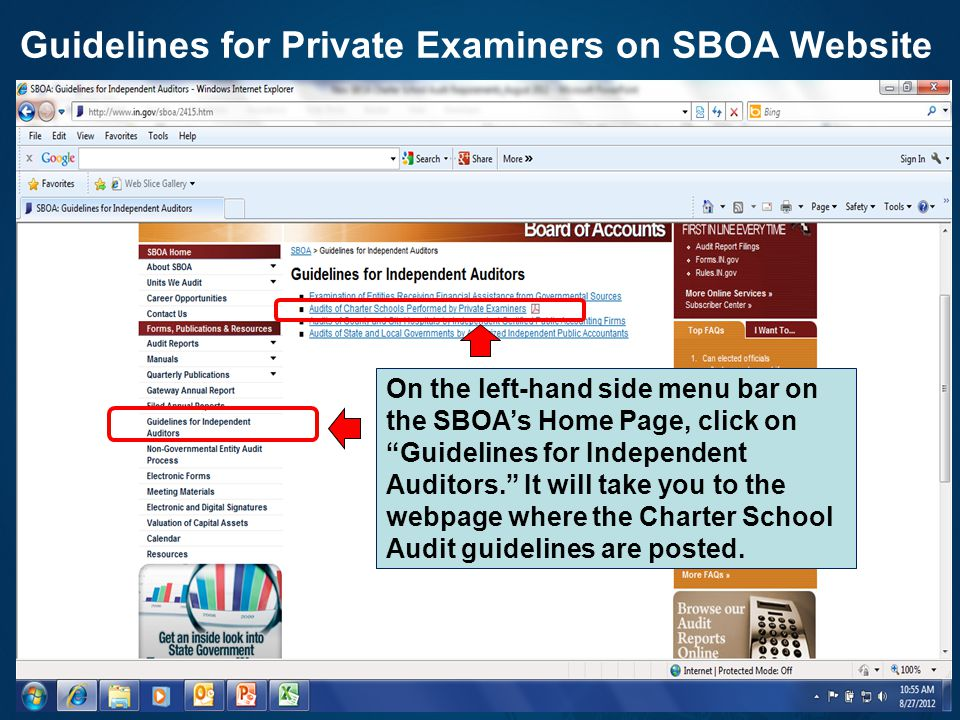 Guidelines for Private Examiners on SBOA Website