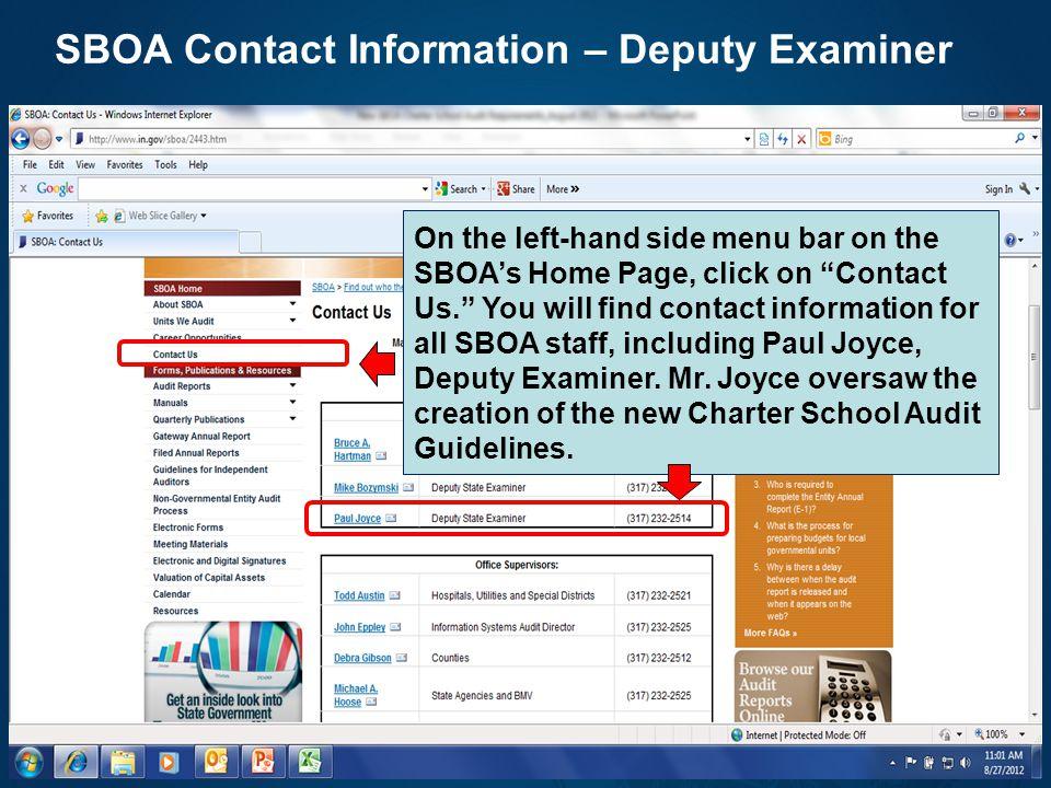 SBOA Contact Information – Deputy Examiner