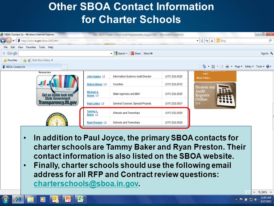 Other SBOA Contact Information for Charter Schools