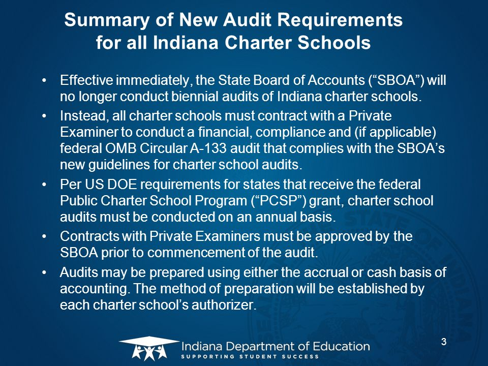 Summary of New Audit Requirements for all Indiana Charter Schools