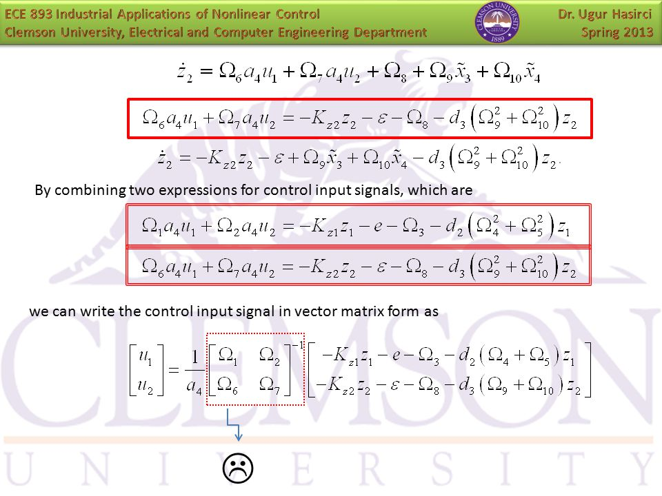  By combining two expressions for control input signals, which are