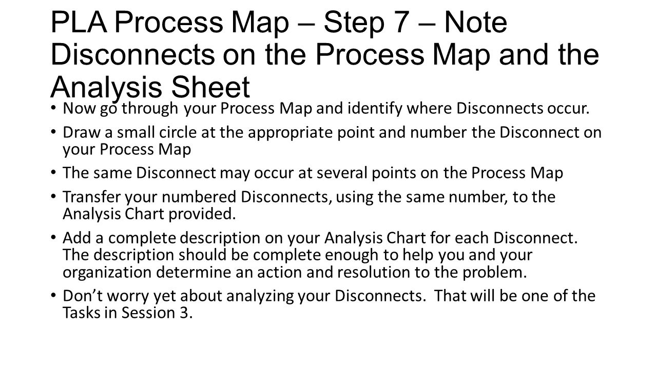 PLA Process Map – Step 7 – Note Disconnects on the Process Map and the Analysis Sheet