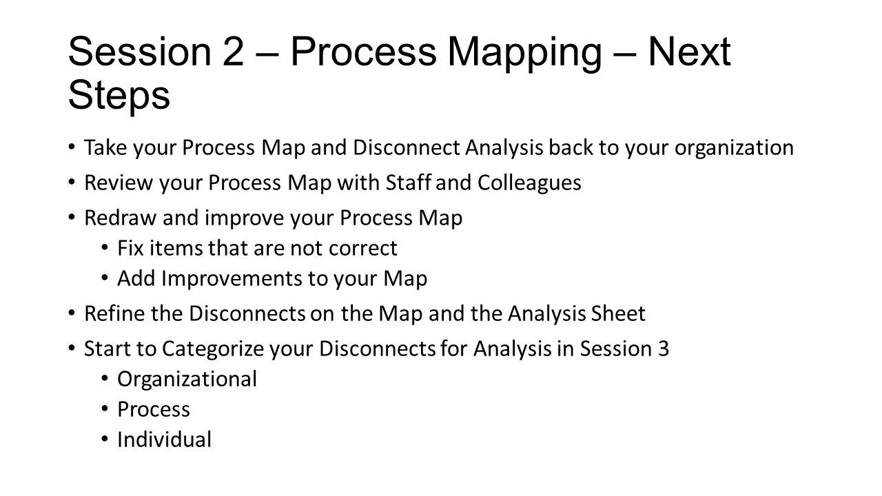Session 2 – Process Mapping – Next Steps