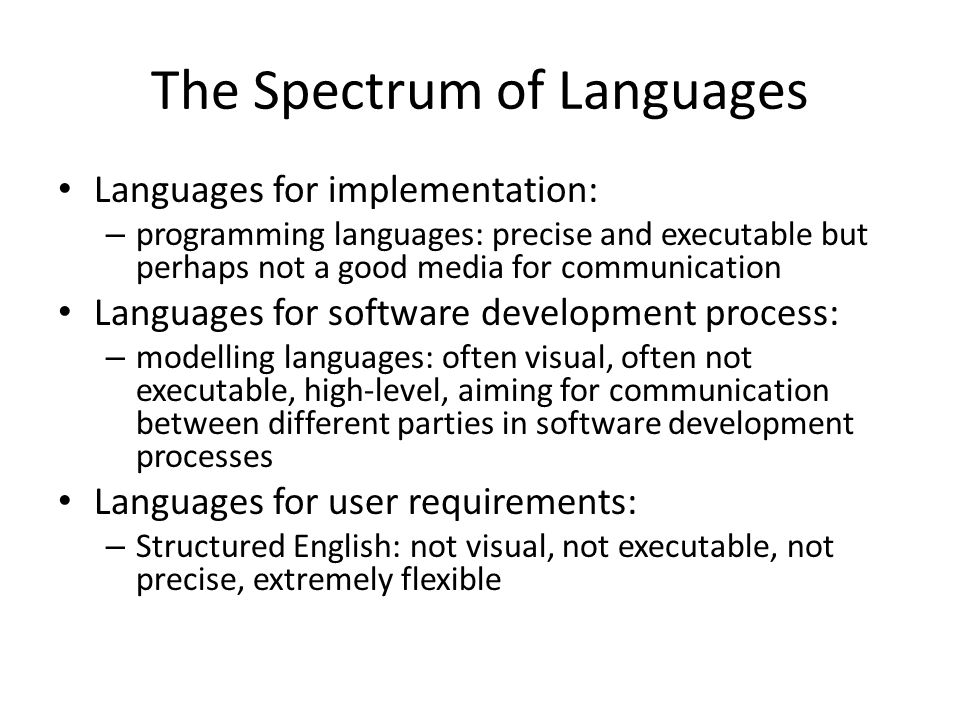 The Spectrum of Languages