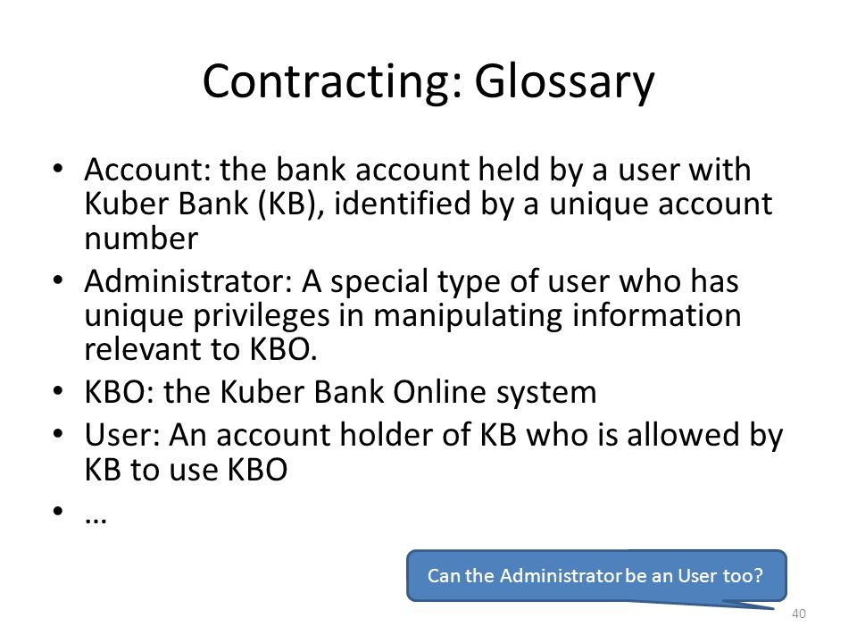 Contracting: Glossary