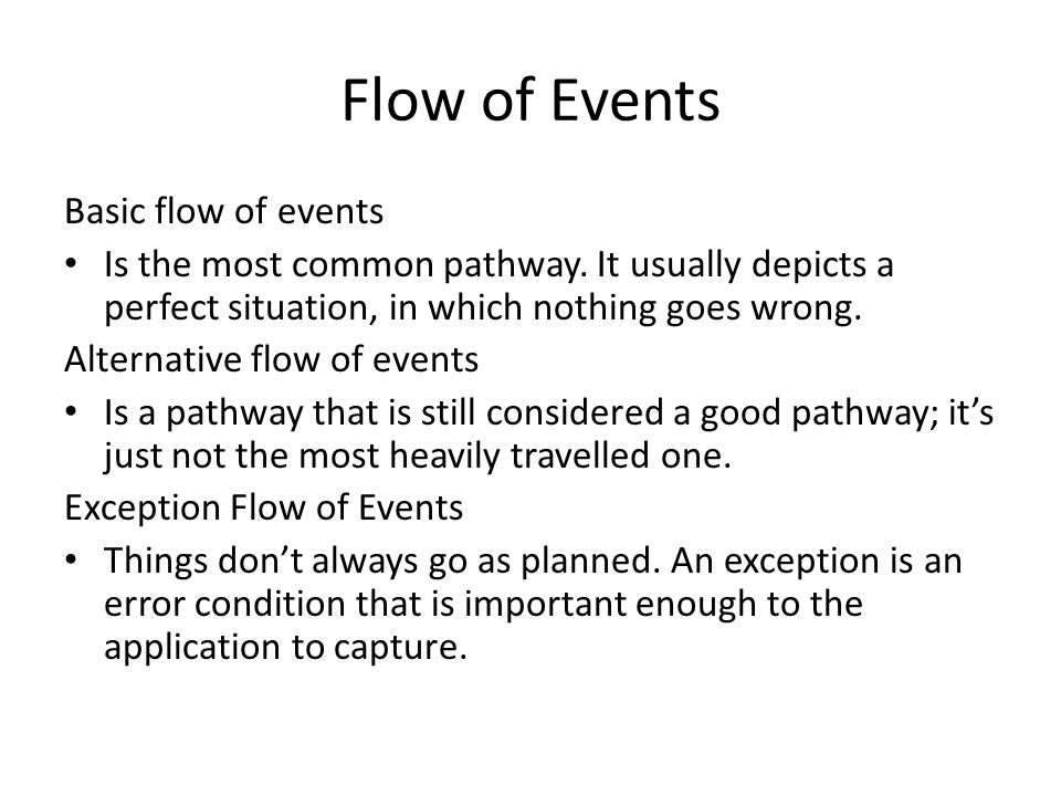 Flow of Events Basic flow of events