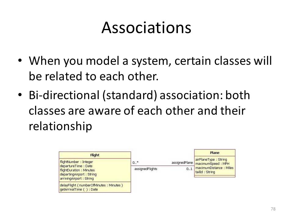 Associations When you model a system, certain classes will be related to each other.