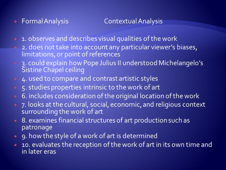 Formal Analysis Contextual Analysis
