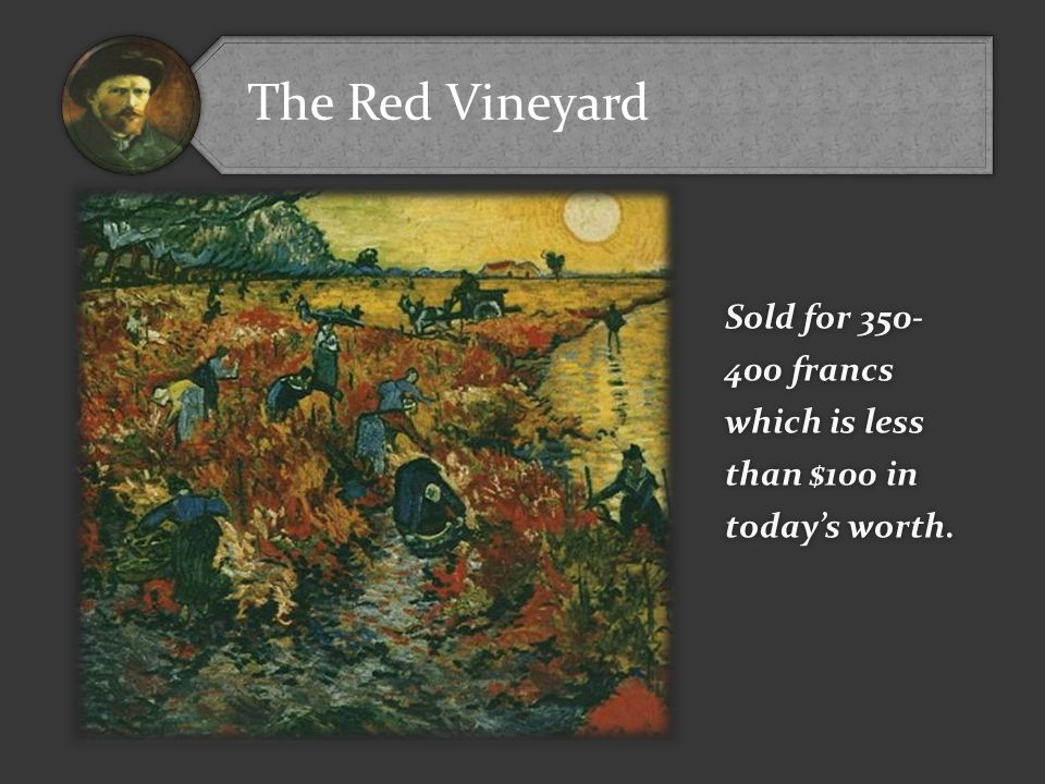 The Red Vineyard Sold for 350- 400 francs which is less than $100 in today's worth.