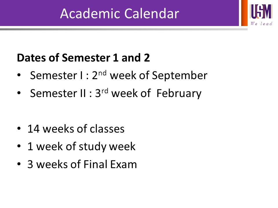 Academic Calendar Dates of Semester 1 and 2