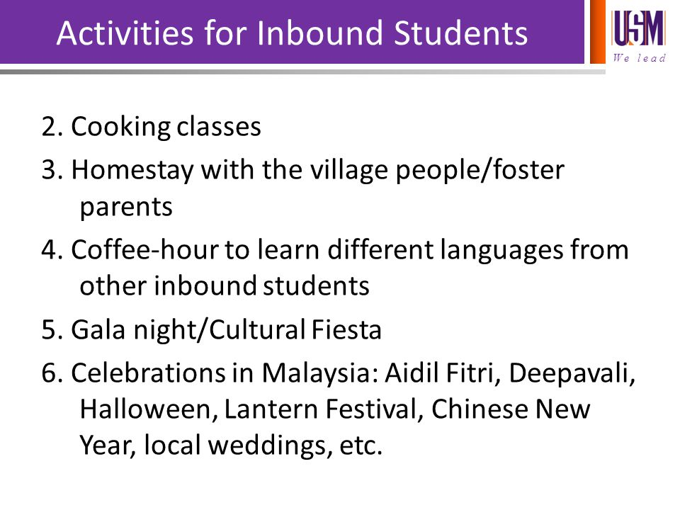 Activities for Inbound Students