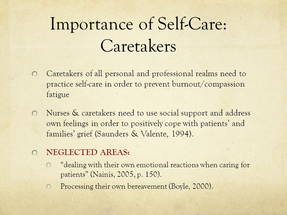 Importance of Self-Care: Caretakers
