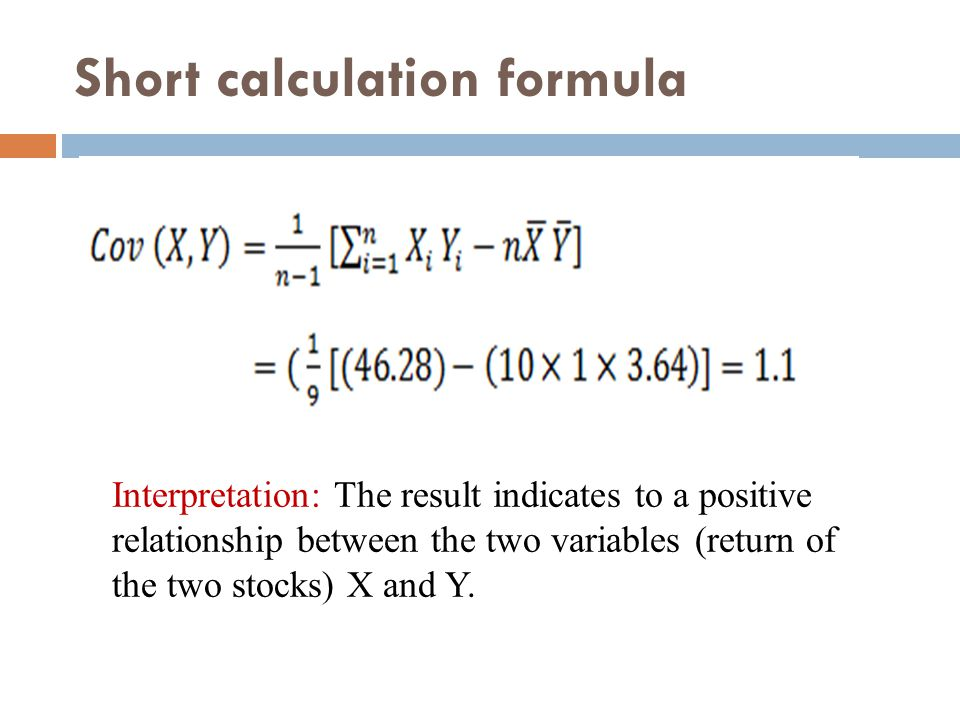 Short calculation formula