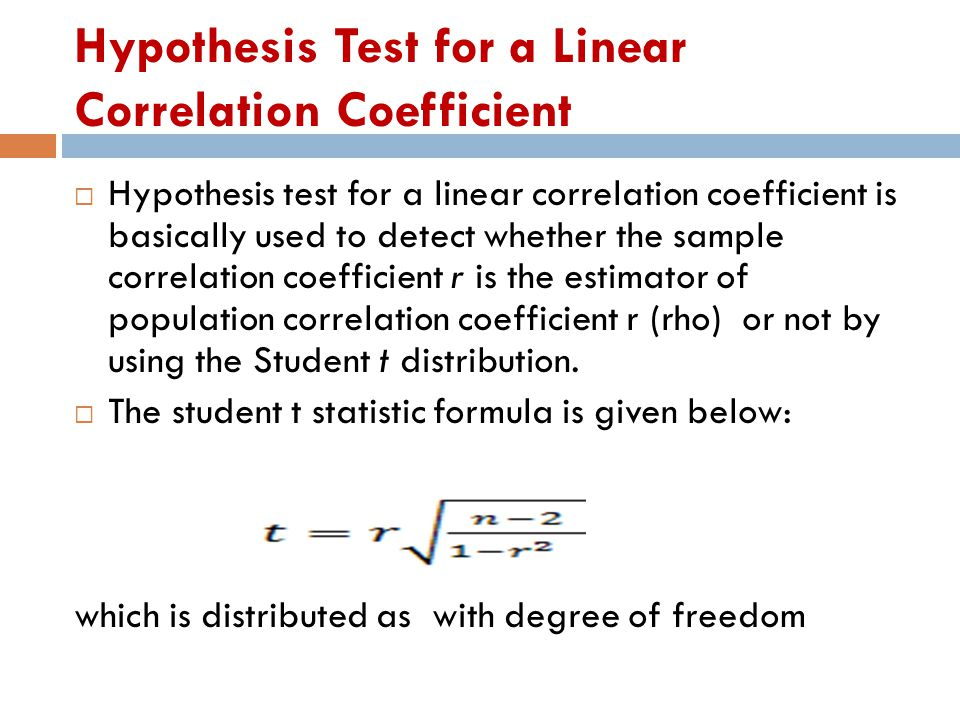 Hypothesis Test for a Linear Correlation Coefficient
