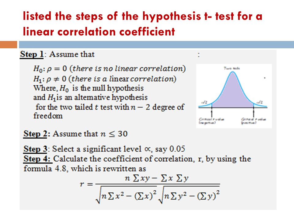 listed the steps of the hypothesis t- test for a linear correlation coefficient