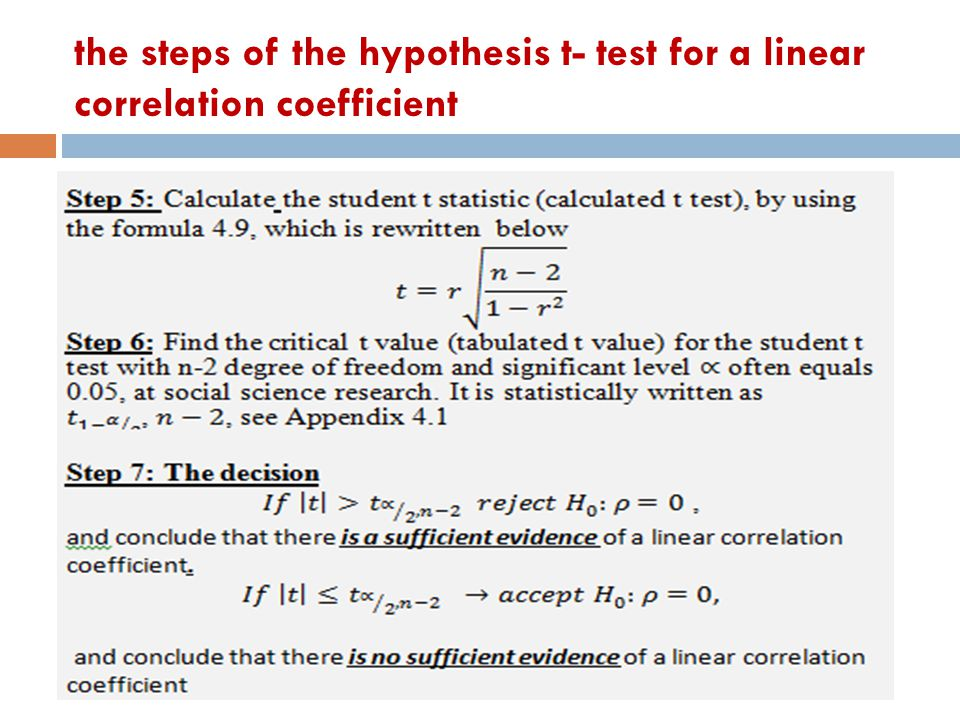 the steps of the hypothesis t- test for a linear correlation coefficient