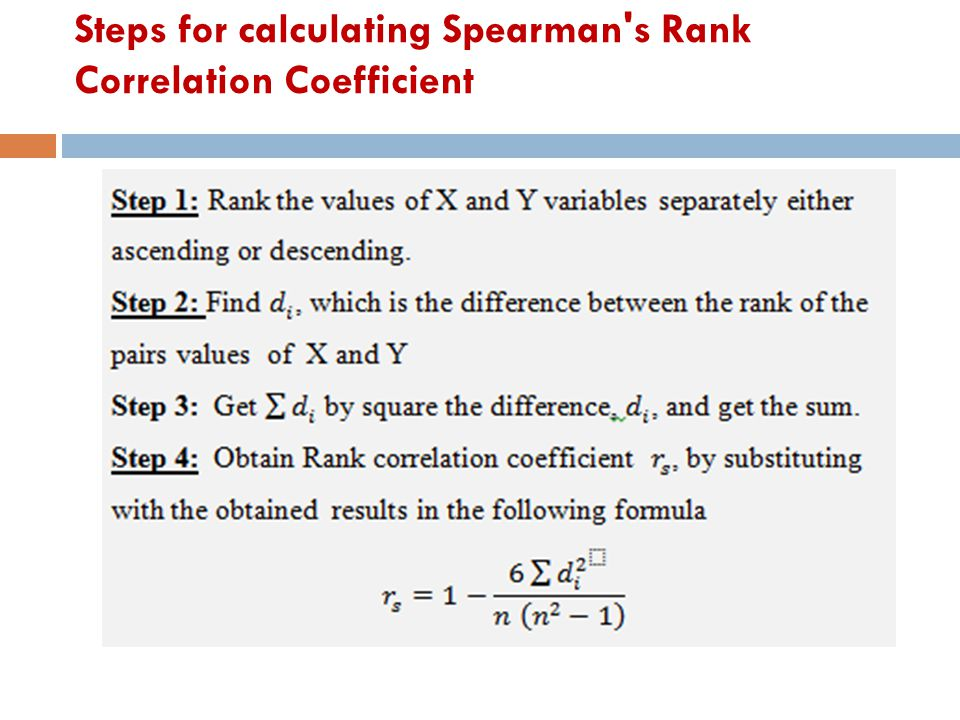 Steps for calculating Spearman s Rank Correlation Coefficient