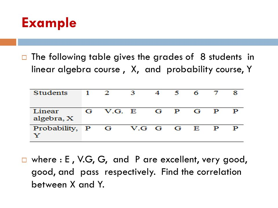 Example The following table gives the grades of 8 students in linear algebra course , X, and probability course, Y.