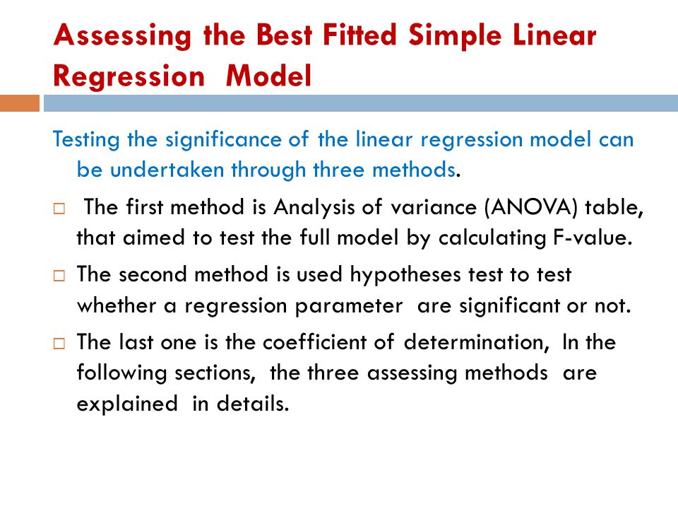 Assessing the Best Fitted Simple Linear Regression Model