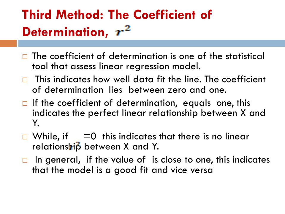 Third Method: The Coefficient of Determination,