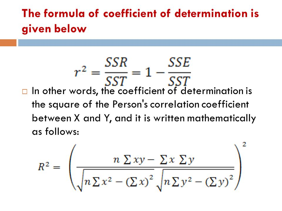 The formula of coefficient of determination is given below