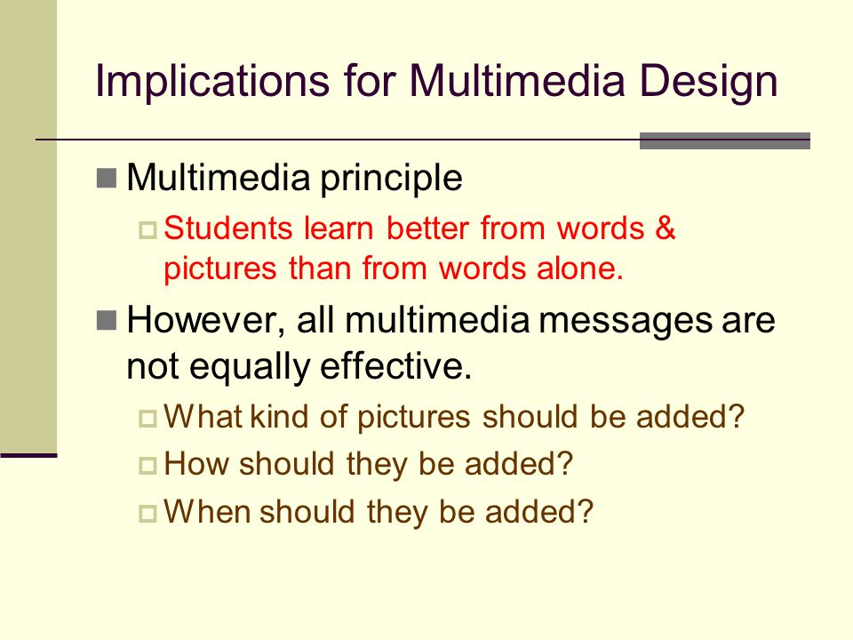 Implications for Multimedia Design