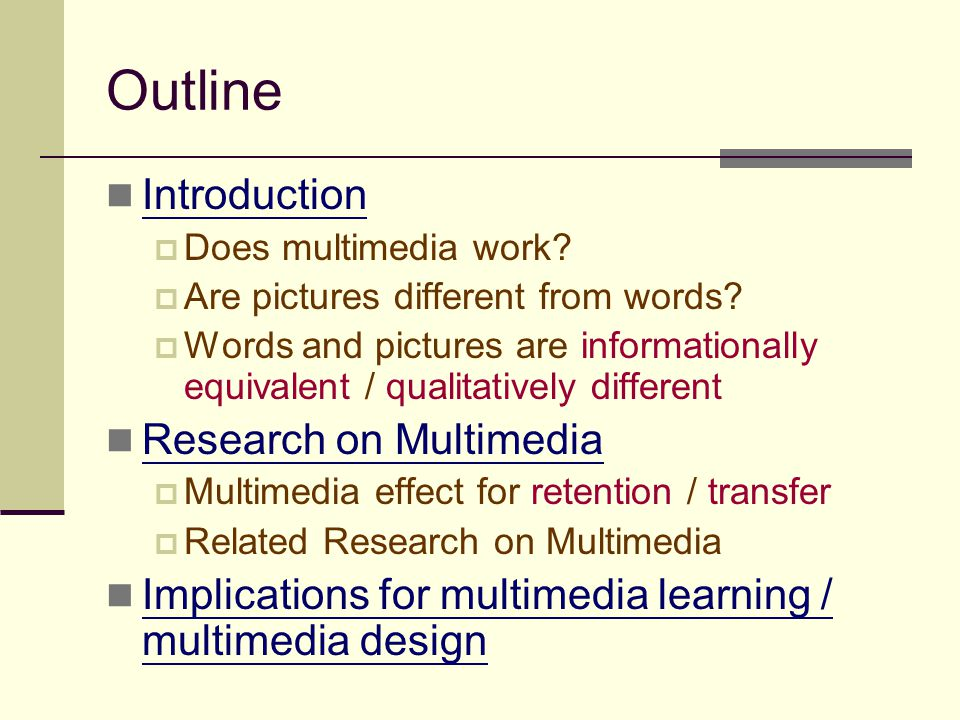 Outline Introduction Research on Multimedia