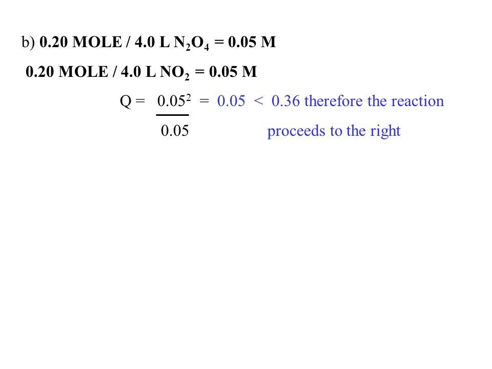 b) 0.20 MOLE / 4.0 L N2O4 = 0.05 M 0.20 MOLE / 4.0 L NO2 = 0.05 M. Q = 0.052 = 0.05 < 0.36 therefore the reaction.