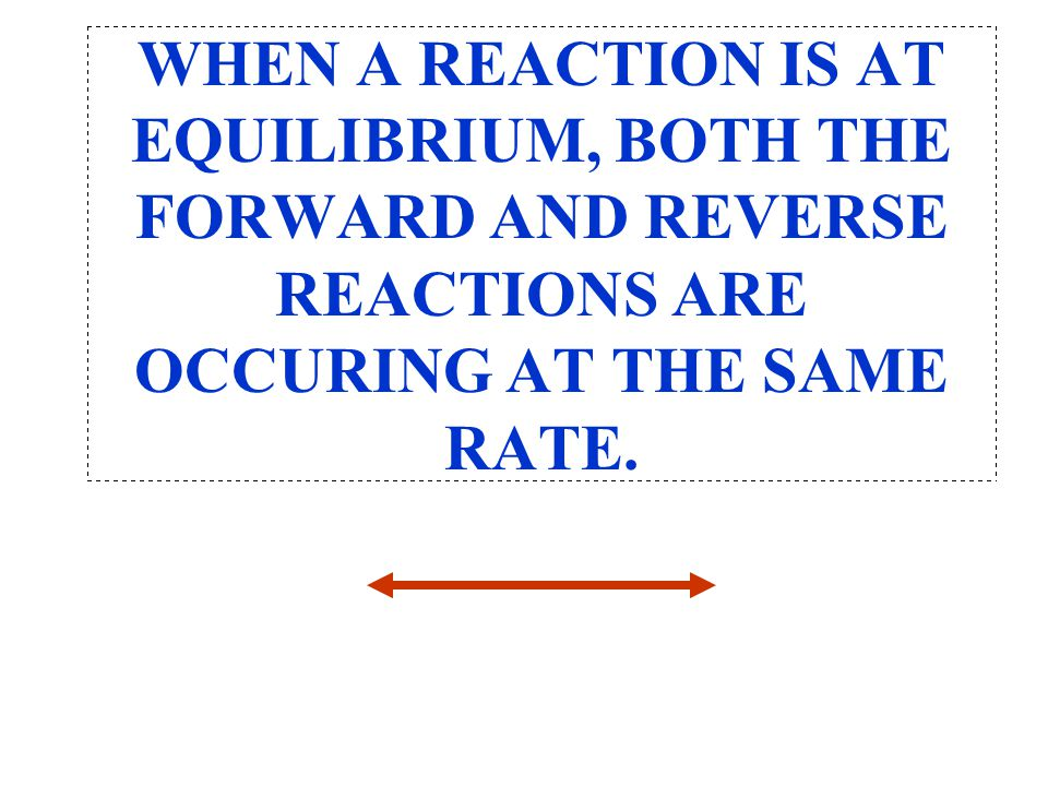 WHEN A REACTION IS AT EQUILIBRIUM, BOTH THE FORWARD AND REVERSE REACTIONS ARE OCCURING AT THE SAME RATE.