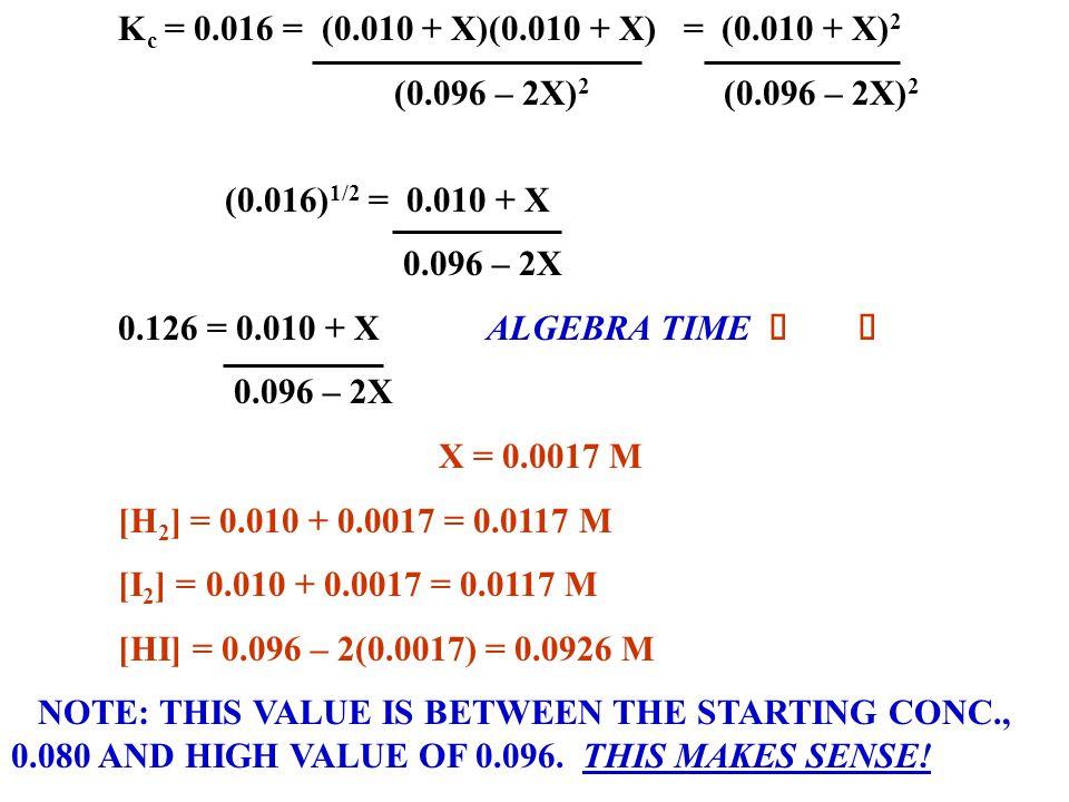 Kc = 0.016 = (0.010 + X)(0.010 + X) = (0.010 + X)2 (0.096 – 2X)2 (0.096 – 2X)2. (0.016)1/2 = 0.010 + X.