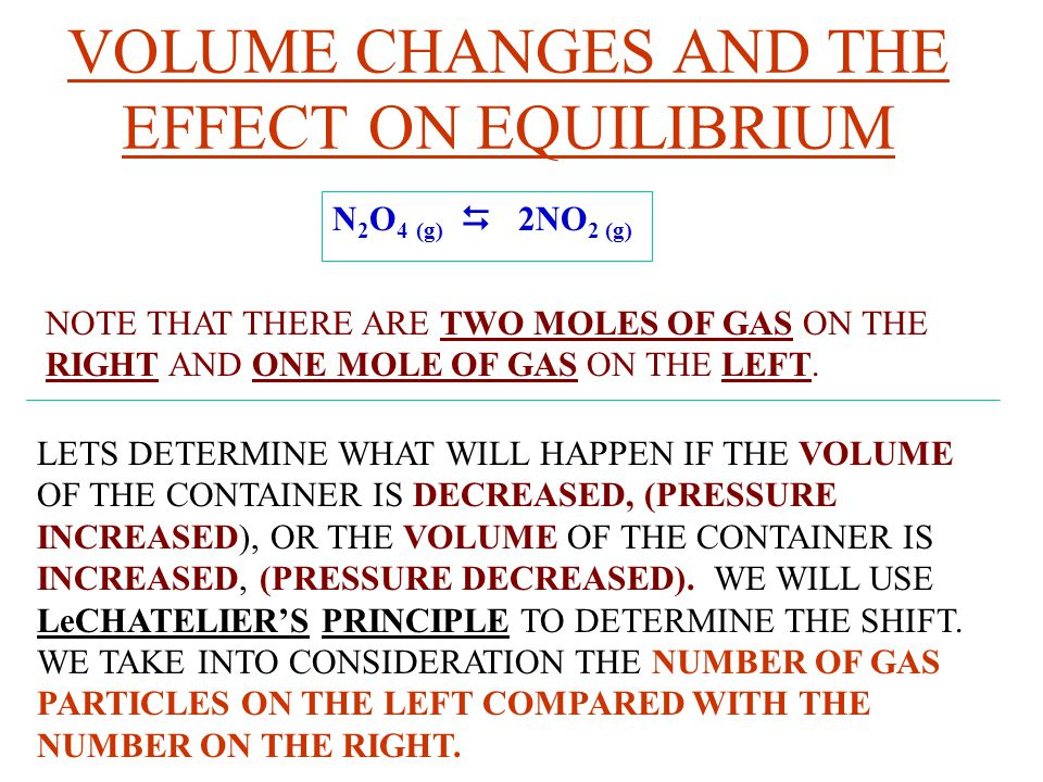 VOLUME CHANGES AND THE EFFECT ON EQUILIBRIUM