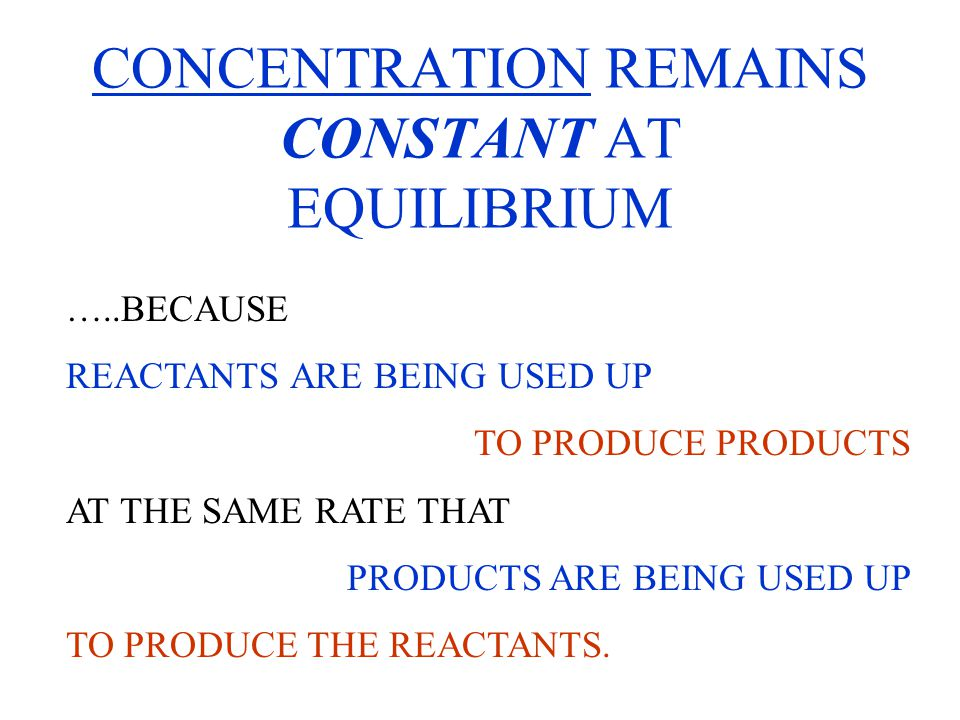 CONCENTRATION REMAINS CONSTANT AT EQUILIBRIUM