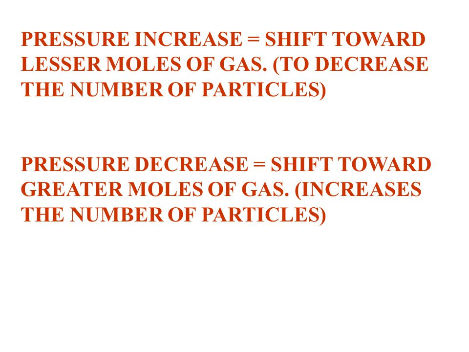 PRESSURE INCREASE = SHIFT TOWARD LESSER MOLES OF GAS