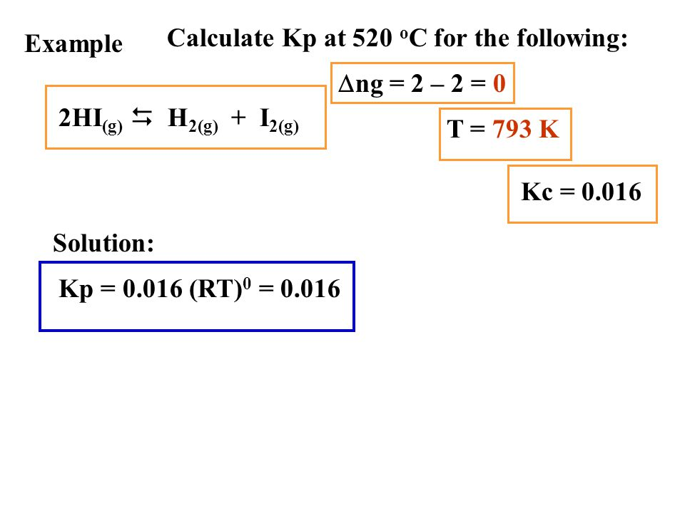 Calculate Kp at 520 oC for the following: