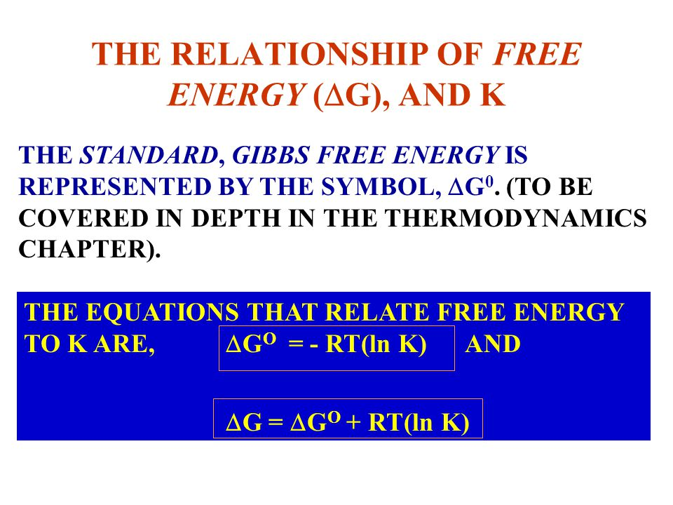 THE RELATIONSHIP OF FREE ENERGY (DG), AND K