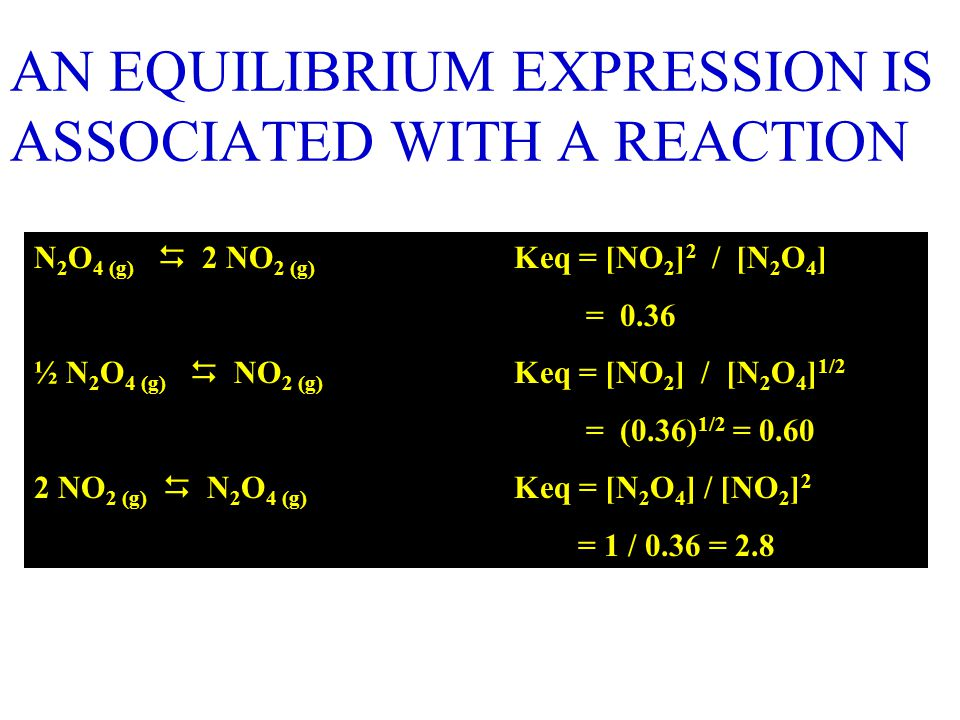 AN EQUILIBRIUM EXPRESSION IS ASSOCIATED WITH A REACTION