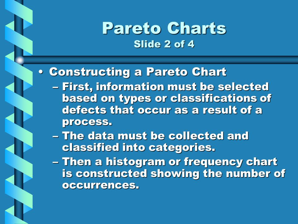 Pareto Charts Slide 2 of 4 Constructing a Pareto Chart