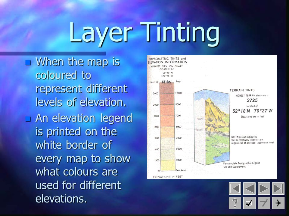 Layer Tinting When the map is coloured to represent different levels of elevation.
