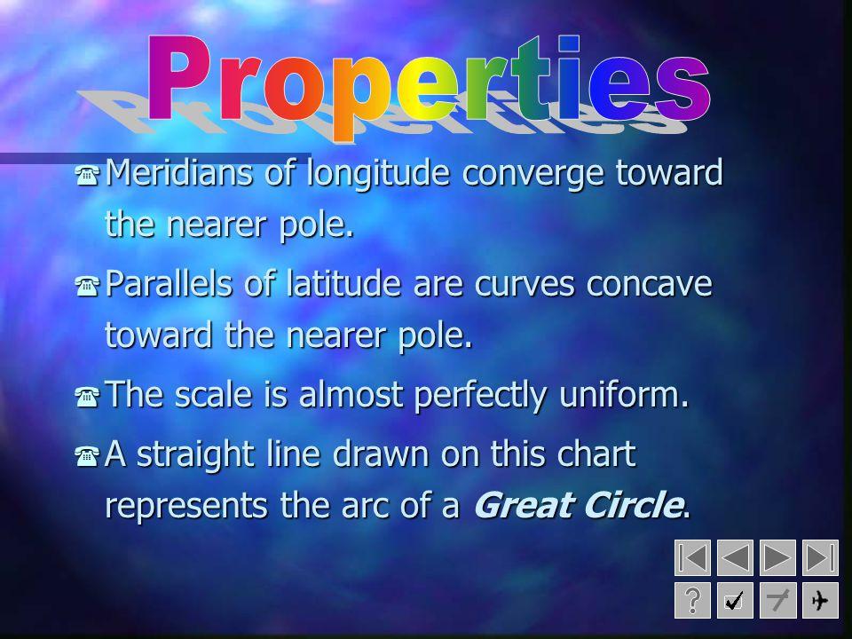 Properties Meridians of longitude converge toward the nearer pole.