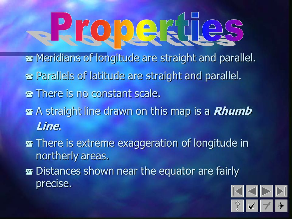 Properties Meridians of longitude are straight and parallel.