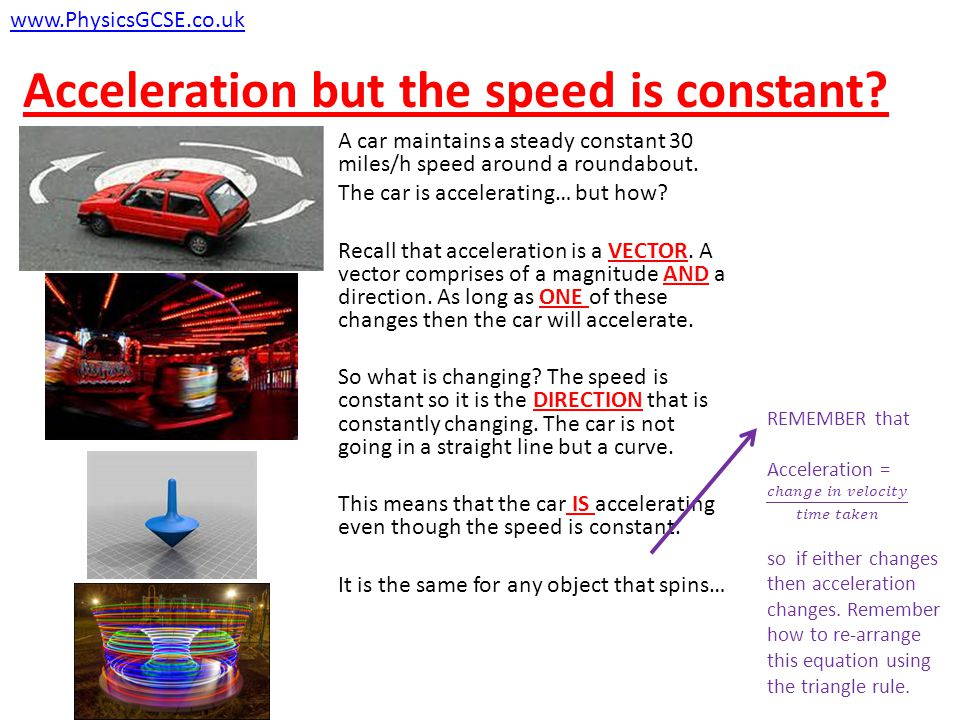 Acceleration but the speed is constant